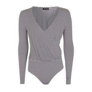 TOPSHOP Long Sleeve Striped Draped Bodysuit